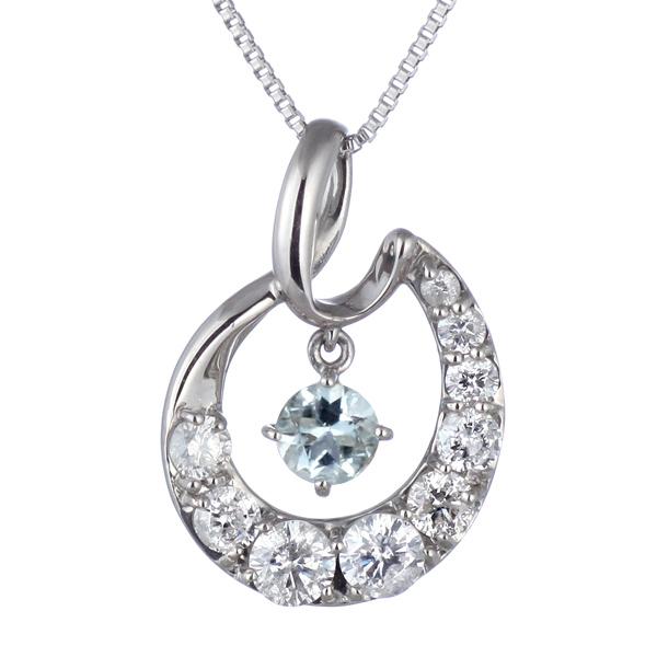 結婚10周年 ダイヤモンド ネックレス レディース エタニティ 天然石 アクアマリン 3月 誕生石 日本製