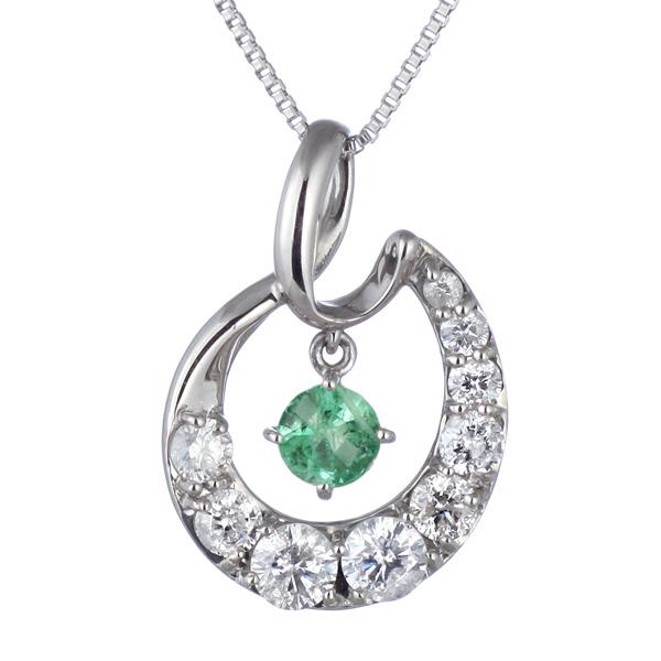 結婚10周年 ダイヤモンド ネックレス レディース エタニティ 天然石 エメラルド 5月 誕生石 日本製