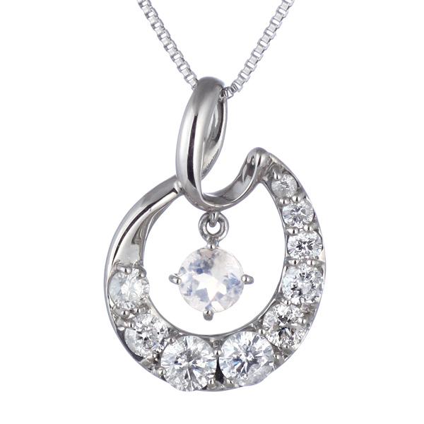 結婚10周年 ダイヤモンド ネックレス レディース エタニティ 天然石 ムーンストーン 6月 誕生石 日本製