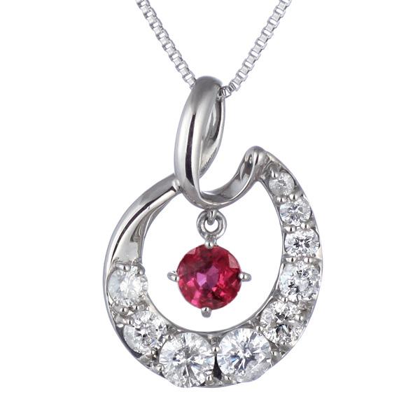 結婚10周年 ダイヤモンド ネックレス レディース エタニティ 天然石 ルビー 7月 誕生石 日本製