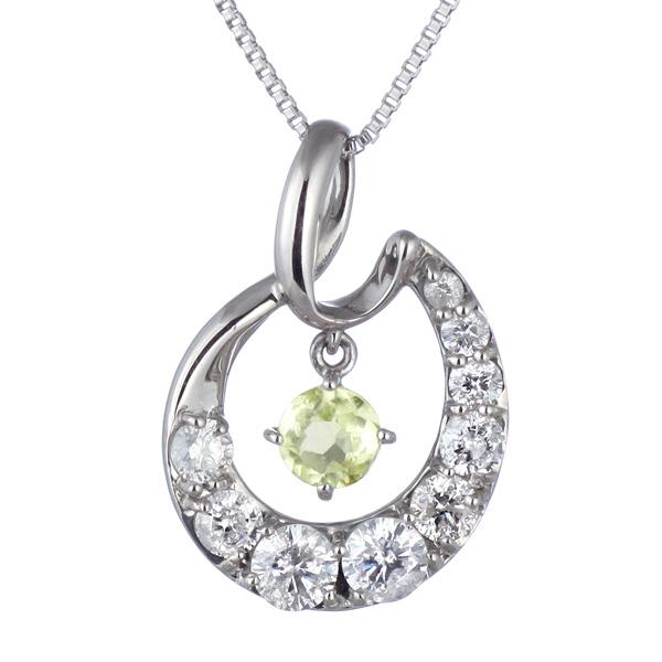 結婚10周年 ダイヤモンド ネックレス レディース エタニティ 天然石 ペリドット 8月 誕生石 日本製