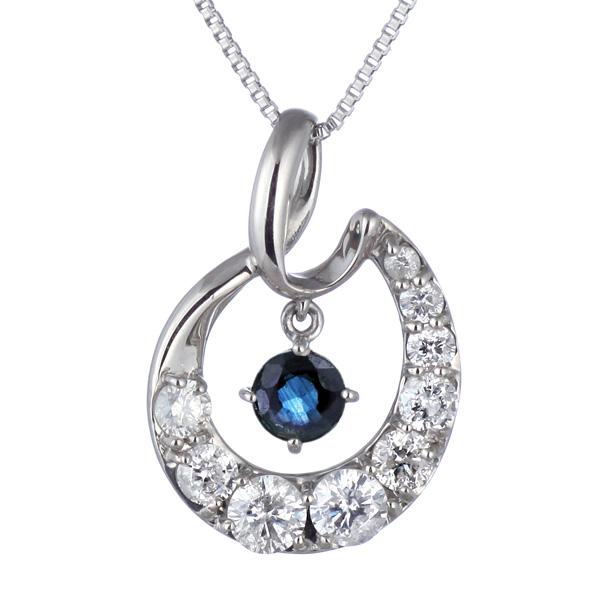 結婚10周年 ダイヤモンド ネックレス レディース エタニティ 天然石 サファイア 9月 誕生石 日本製