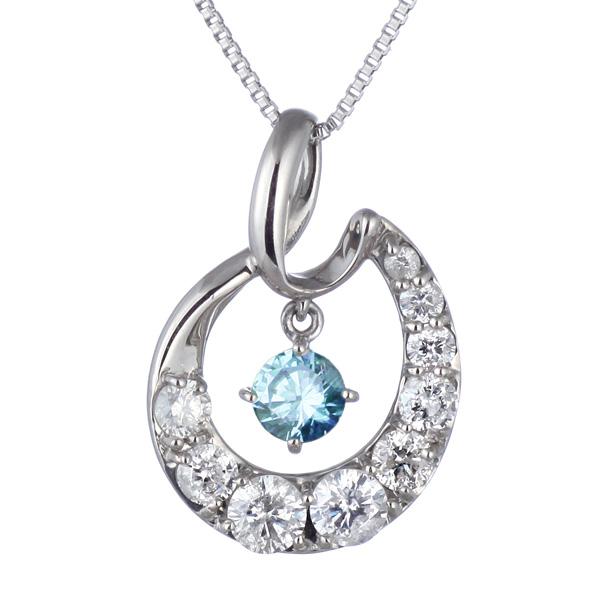 結婚10周年 ダイヤモンド ネックレス レディース エタニティ 天然石 ブルートパーズ 11月 誕生石 日本製