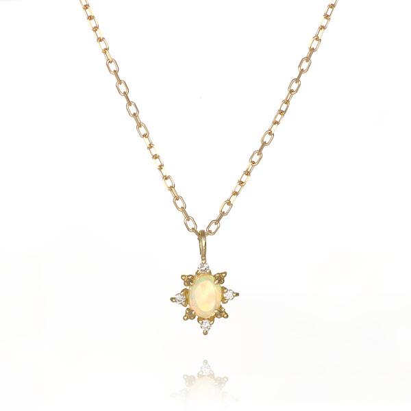 オパール 天然石 ダイヤモンド ネックレス 18金