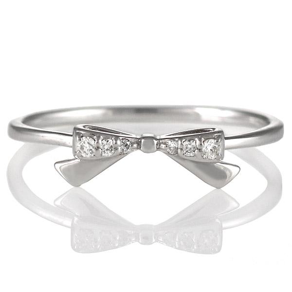 ダイヤモンド リング 指輪 人気 レディース プレゼント ホワイトゴールド リボン