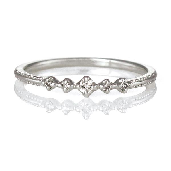 リング ダイヤモンド K18 ホワイトゴールド 18金 ダイヤ シンプル