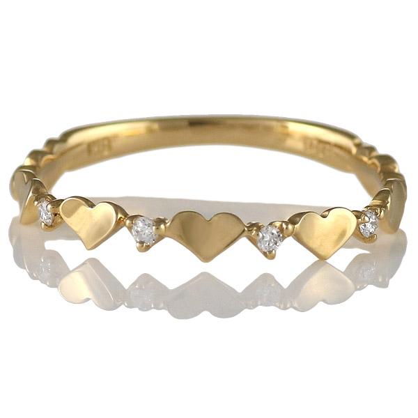 ダイヤモンド リング 指輪 人気 レディース プレゼント イエローゴールド ハート