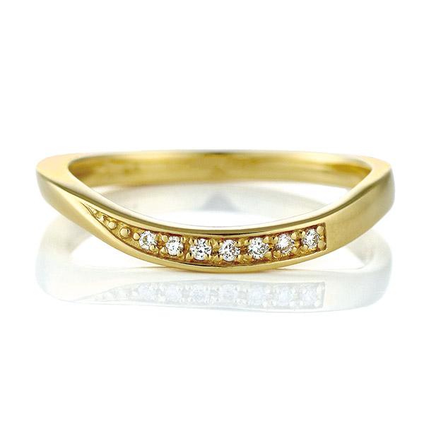 リング ダイヤモンド K18 イエローゴールド 18金 ダイヤ ウェーブ 末広 スーパーSALE