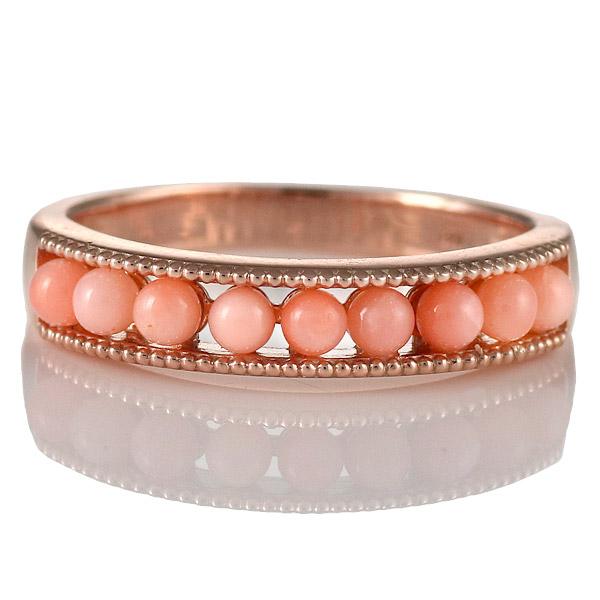 サンゴ リング 指輪 人気 レディース プレゼント ピンクゴールド