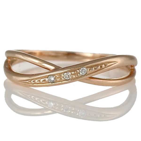 リング ダイヤモンド K18 ピンクゴールド 18金 ダイヤ ウェーブ プレゼント