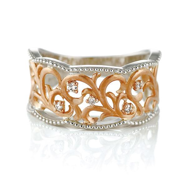リング ダイヤモンド K18 ピンクゴールド ホワイトゴールド 18金 ダイヤ 唐草模様 ミル打ち アンティーク調 末広 スーパーSALE