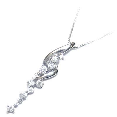 スイート エタニティ ダイヤモンド 10 個 K18ホワイトゴールドダイヤモンドペンダントネックレス 結婚 10周年記念