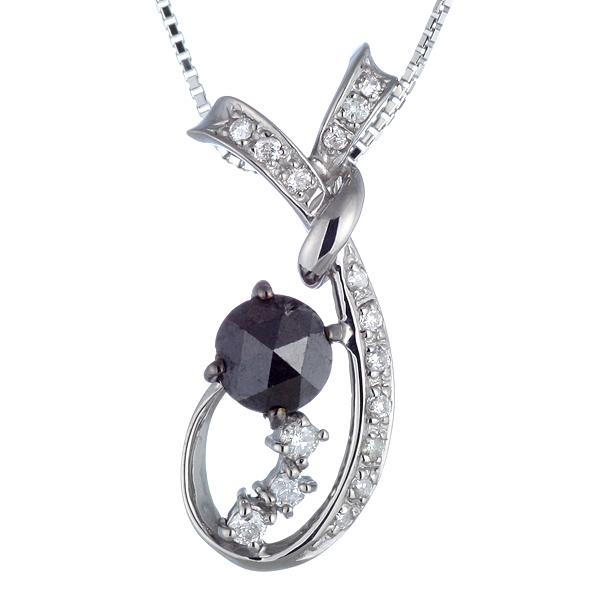 1カラット ダイヤモンド ネックレス ブラックダイヤモンド ネックレス ホワイトゴールド