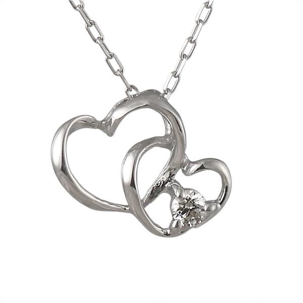 ネックレス ダイヤモンド ハート K10ホワイトゴールド シンプル 人気 プレゼント ダイヤ