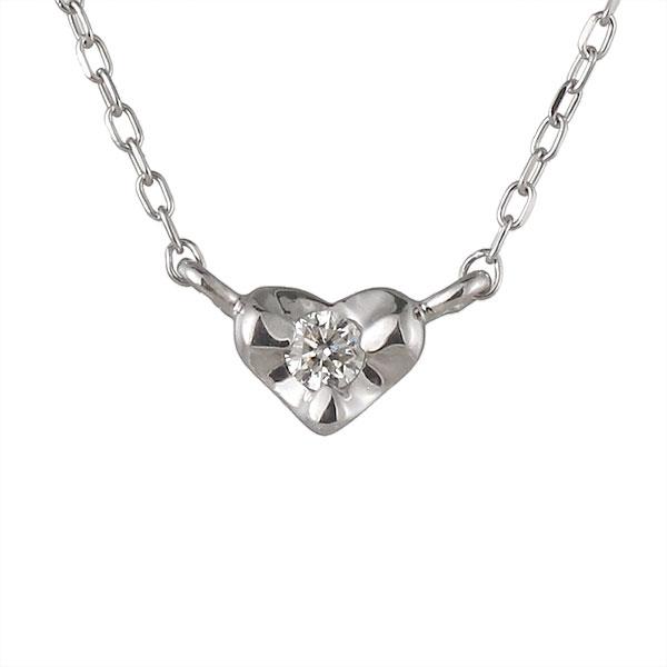 ネックレス ダイヤモンド ハート K18ホワイトゴールド シンプル 人気 プレゼント ダイヤ