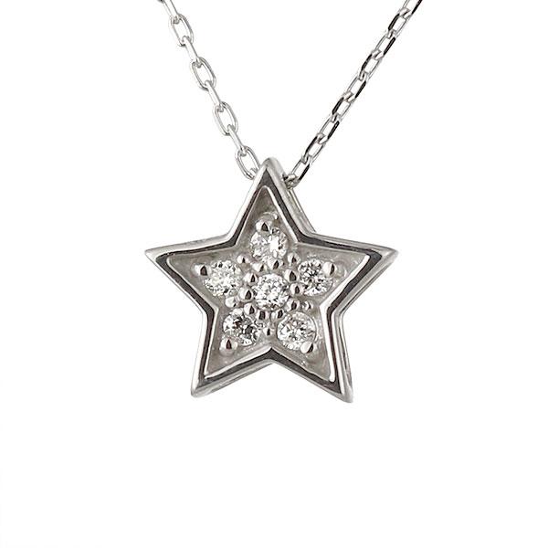ネックレス ダイヤモンド 星 スター K18ホワイトゴールド シンプル 人気 プレゼント ダイヤ【DEAL】
