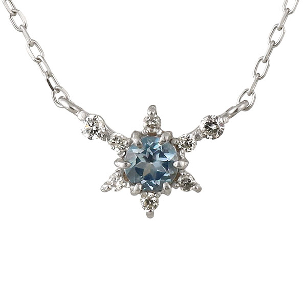 ネックレス ダイヤモンド アクアマリン 星 スター K18ホワイトゴールド 人気 プレゼント
