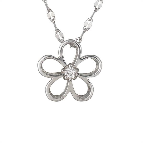 ネックレス ダイヤモンド フラワー お花 K18ホワイトゴールド 人気 プレゼント ダイヤ