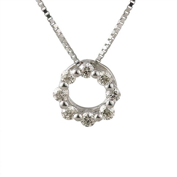 ネックレス ダイヤモンド フープ K18ホワイトゴールド シンプル 人気 プレゼント ダイヤ 末広 スーパーSALE