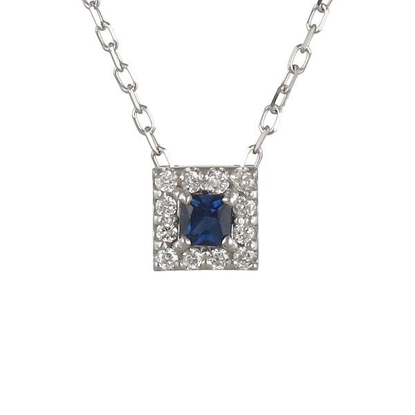 ネックレス ダイヤモンド ブルーサファイア スクエア K18ホワイトゴールド プレゼント 末広 スーパーSALE