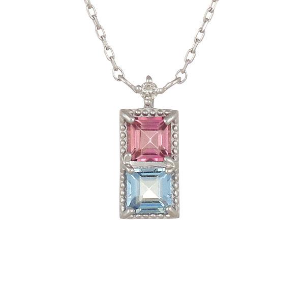 ネックレス ピンクトルマリン ブルートパーズ ダイヤモンド スクエア K18ホワイトゴールド プレゼント バイカラー
