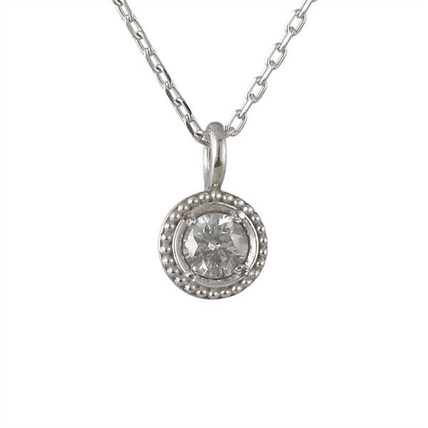 ネックレス ダイヤモンド 一粒 K18ホワイトゴールド プレゼント 人気 シンプル