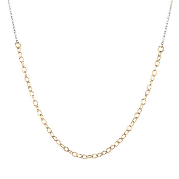 ネックレス K18ホワイトゴールド K18ゴールド レディース シンプル 地金ネックレス コンビ