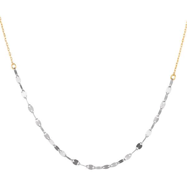 ネックレス K18ホワイトゴールド K18ゴールド レディース シンプル 地金ネックレス コンビ【DEAL】