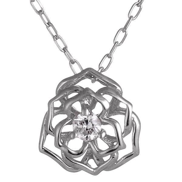 ネックレス ダイヤモンド K10ホワイトゴールド フラワー お花 プレゼント 末広 スーパーSALE