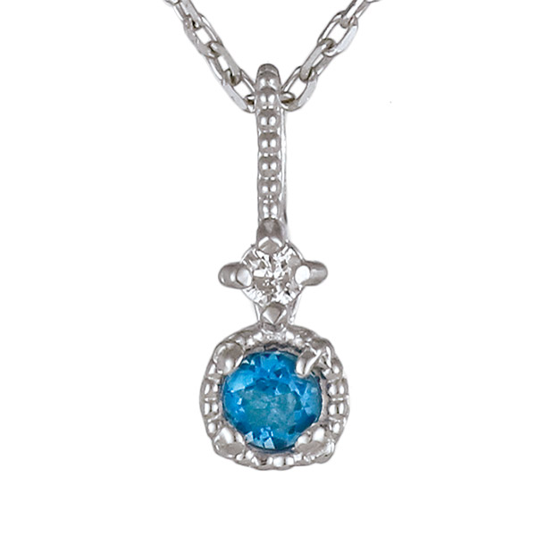 ネックレス ダイヤモンド ロンドンブルートパーズ K18 ホワイトゴールド 18金 シンプル 人気 11月誕生石【DEAL】
