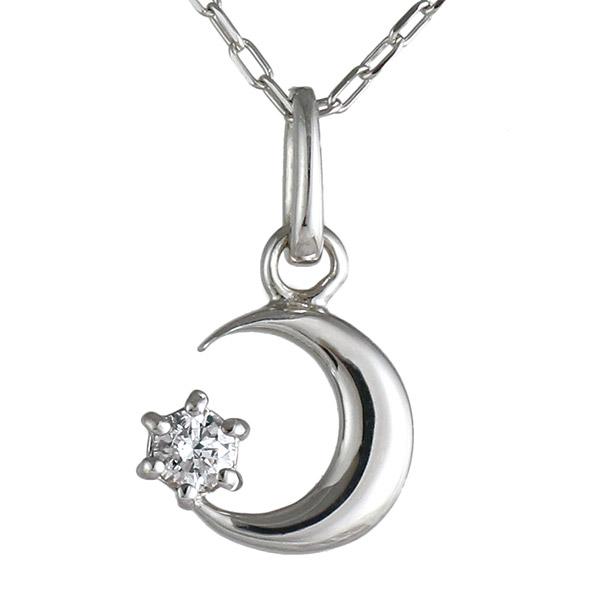 ネックレス ダイヤモンド K18 ホワイトゴールド 18金 月 ムーン 人気