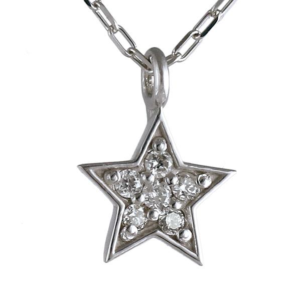 ネックレス ダイヤモンド K18 ホワイトゴールド 18金 星 スター 人気