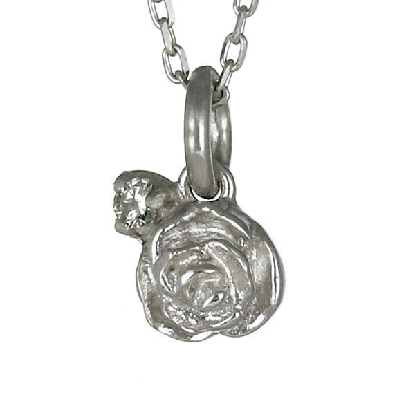 ネックレス ダイヤモンド K10 ホワイトゴールド 10金 フラワー お花 バラ