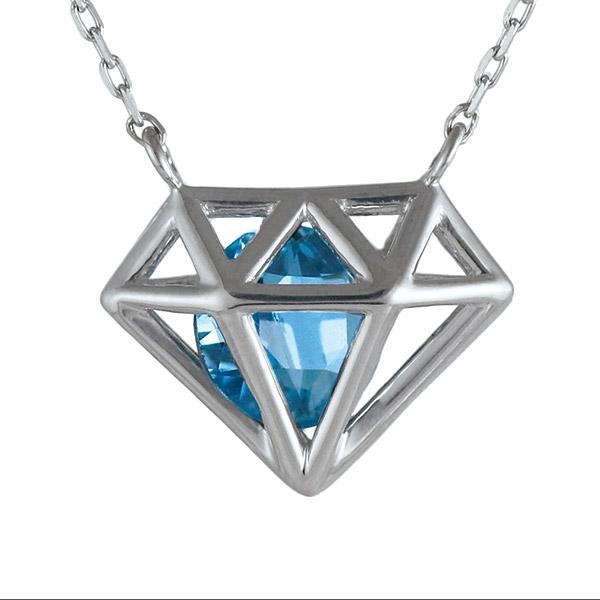 ネックレス ロンドンブルートパーズ ダイヤモンドモチーフ K10 ゴールド 10金 人気 プレゼント 人気