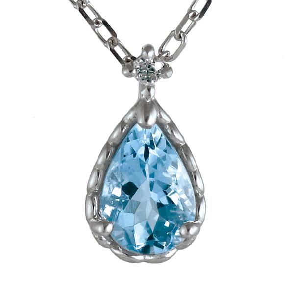 ネックレス ダイヤモンド アクアマリン K10 ホワイトゴールド 10金 ドロップ しずく 人気