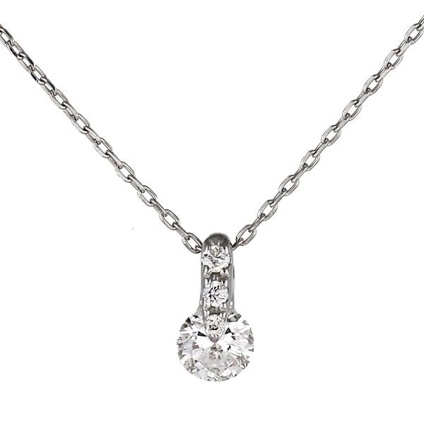 ネックレス 18金 K18 18k ホワイトゴールド ダイヤモンド 一粒 シンプル【DEAL】