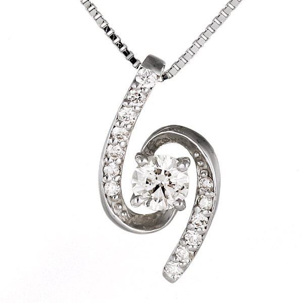 ネックレス 18金 K18 18k ホワイトゴールド ダイヤモンド 螺旋
