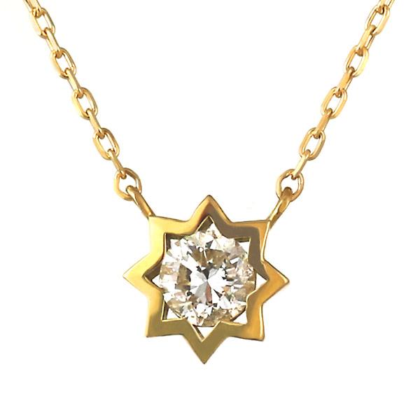 ネックレス K18 ダイヤモンド スター 星 レディース 人気 ダイヤ プレゼント【DEAL】