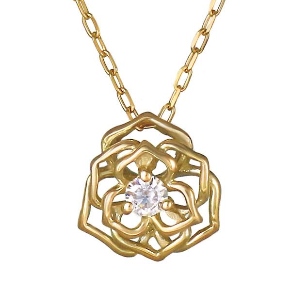 ネックレス K10 ダイヤモンド フラワー お花 バラ レディース 人気 ダイヤ プレゼント