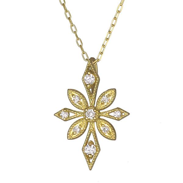 ネックレス K18 ダイヤモンド フラワー お花 バラ レディース 人気 ダイヤ プレゼント【DEAL】