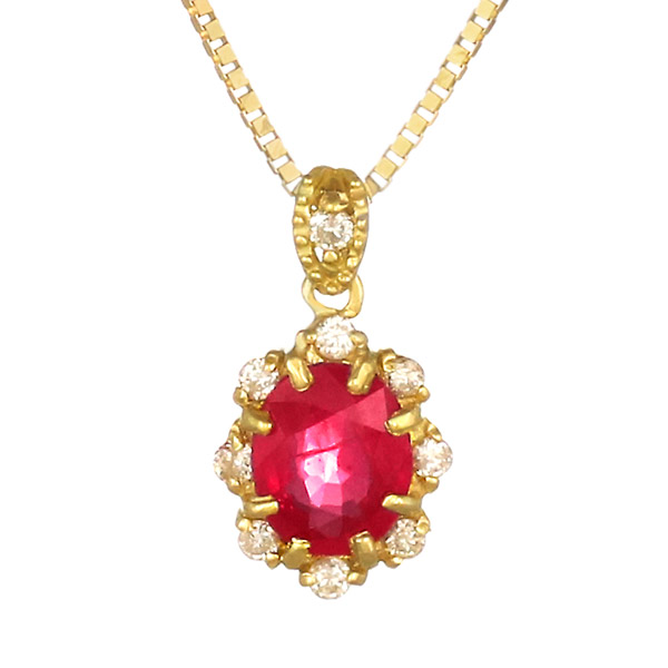 ネックレス K18 ルビー ダイヤモンド レディース 人気 ダイヤ プレゼント
