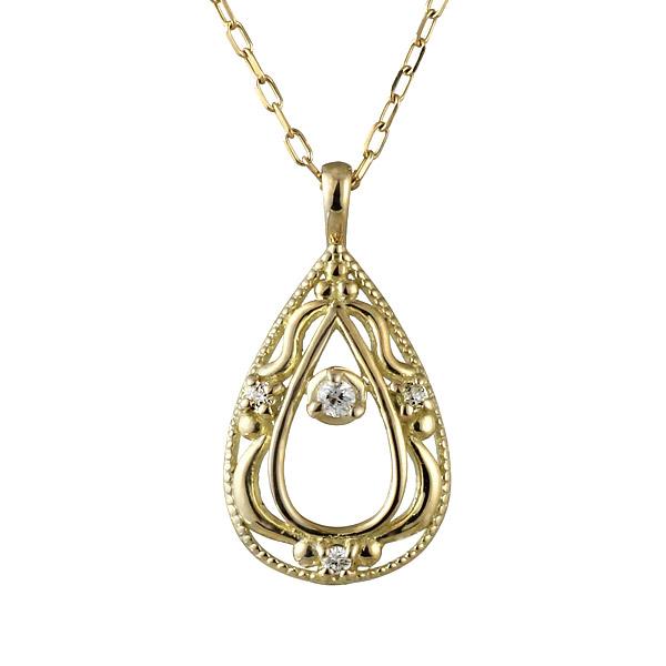 ネックレス ダイヤモンド K10 イエロー ゴールド ネックレス しずく モチーフ ダイヤモンドネックレス 人気