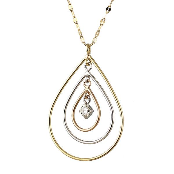 ネックレス ダイヤモンド K18 イエロー ピンク ホワイト ゴールド ネックレス しずく モチーフ ダイヤモンドネックレス 人気