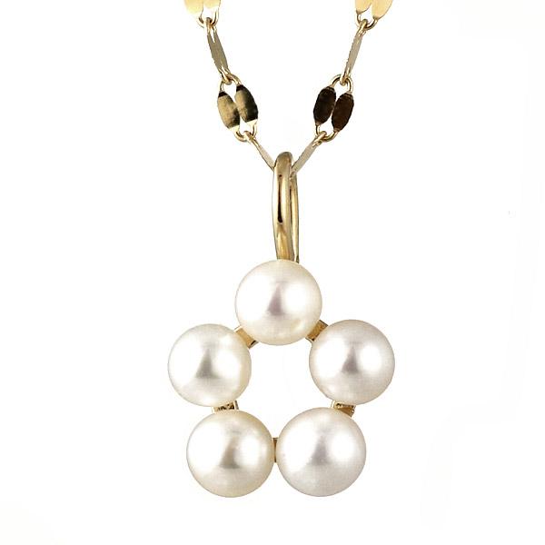 ネックレス パール 真珠 K18 フラワー シンプル 人気
