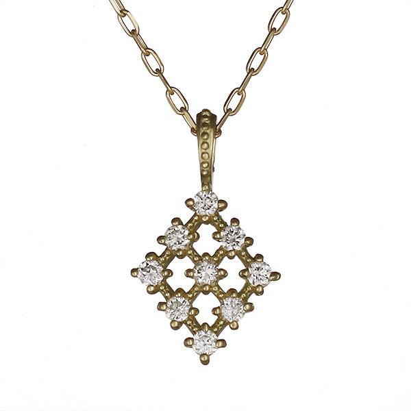 ネックレス ダイヤモンド シンプル K18イエローゴールド プレゼント 菱形