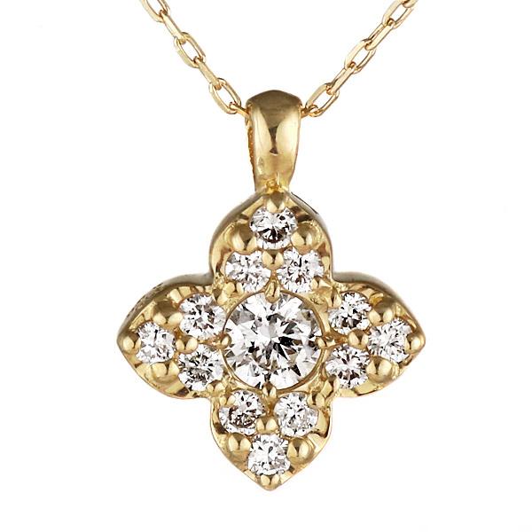 ネックレス 18金 K18 18k イエローゴールド ダイヤモンド フラワー