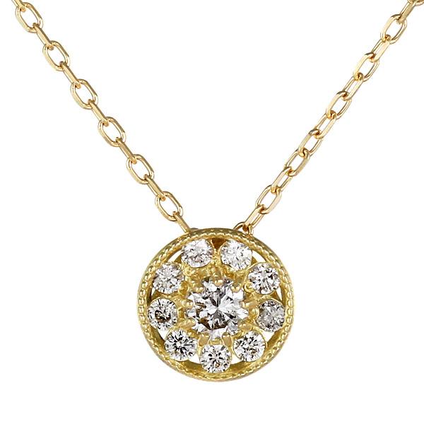 ネックレス 18金 K18 18k イエローゴールド ダイヤモンド シンプル