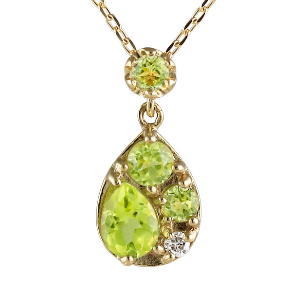 ネックレス 18金 K18 18k イエローゴールド ダイヤモンド ペリドット 誕生石