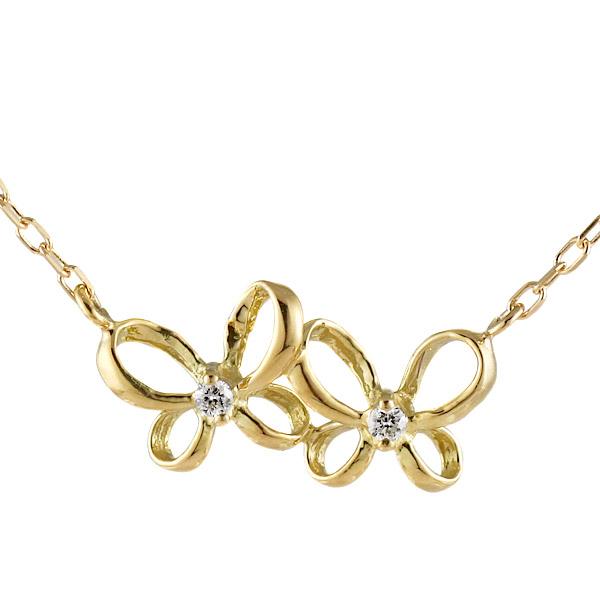 ネックレス 18金 K18 18k イエローゴールド ダイヤモンド リボン