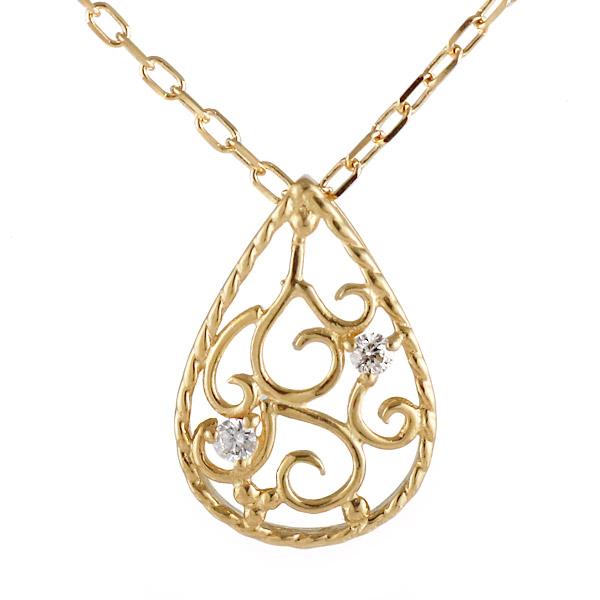 ネックレス 18金 K18 18k イエローゴールド ダイヤモンド しずく エレガント シンプル